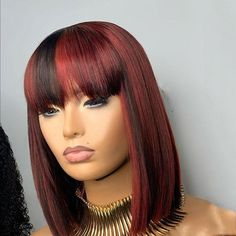 Sew In With Bangs, Wigs With Bangs, Lil Girl Hairstyles, Bob Hairstyles, Dyed Bangs, Burgendy Hair, Remy Wigs, Hair Products Online, How To Style Bangs
