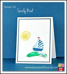 Stampin Up Swirly Bird sailboats by Sandi @ www.stampinwithsandi.com