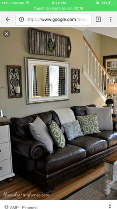 The Dark Brown Couch Love Green Accent