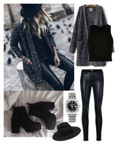 """""""Black and grey"""" by sophie01234 ❤ liked on Polyvore featuring River Island, Versace and Rolex"""