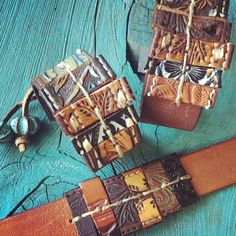 Custom leather cuffs by Twisted Root Designs
