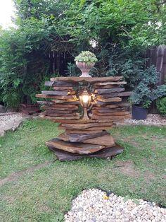 3 tier rock patio water wheel fountain patio outdoor for Goldfischteich pflege