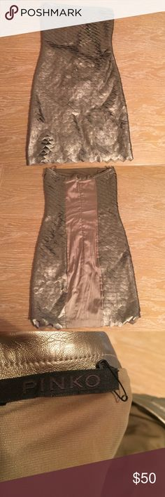 PINKO dress Gold/Champagne scale dress from PINKO. It says it's a size 40 which would be an 8US but it runs very small.. I would say this dress is more of a size 4 or 6 (euro 36/38) Pinko Dresses Mini