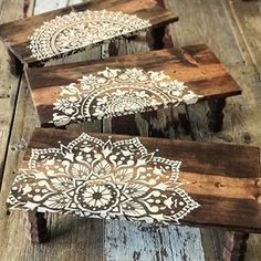 Make Reclaimed Wood Wall Art Using Mandala Stencils Use Wall Stencils To Craft Custom Reclaimed Wood Art Welcome back, my Cutting Edge Stencils friends. Crafting wooden wall art from old pieces of wood is super trendy right now. This DIY project has… Large Wall Stencil, Stencil Wall Art, Stencil Wood, Stencil Painting On Walls, Mandala Painting, Mandala Art, Mandala Design, Stencil Table Top, Painting Art