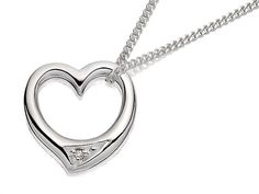 Silver Diamond Set Floating Heart Pendant And Chain - F3412