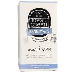 Royal Green Multi Man levert essentiële vitaminen en mineralen afgestemd op de behoefte van de man. Minstens 97% van de voedingsstoffen zijn plantaardig verbouwd. De overige 3% bestaat onder andere uit vitamine D3 en enkele mineralen.Een unieke mix van vitaminen, mineralen, superfoods, kruiden, paddenstoelen en plantenextracten.  #vitamine #supplementen