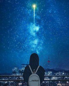 Night Sky Wallpaper, Girl Wallpaper, Galaxy Wallpaper, Cute Muslim Couples, Muslim Girls, Sky Anime, Hijab Drawing, Islamic Cartoon, Hijab Cartoon