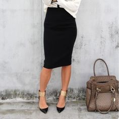 Black Pencil Skirt Slit in back | Size Medium | NO TRADES Skirts Pencil