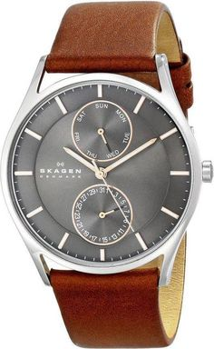 "Skagen Men's ""Holst"" Stainless Steel Watch with Brown Leather band Casual Watches, Cool Watches, Watches For Men, Wrist Watches, Saddle Leather, Brown Leather, Emporio Armani, Daniel Wellington, Skagen Watches"