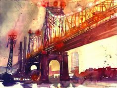 Queensboro Bridge New York, Charming Watercolor Paintings Of Famous Landmarks And Locations by Maja Wrońska