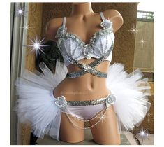 White Silver Rave Outfit  Rave Bra and Half TuTu by VinylDolls