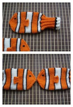 Crochet Baby Mittens Nemo Mittens Free Knitting Pattern - We have rounded up a few Finding Dory Crochet Patterns for your inspiration. These are not all free but they are amazing! Baby Mittens Knitting Pattern, Crochet Baby Mittens, Crochet Baby Blanket Beginner, Crochet Baby Booties, Knitting Patterns Free, Knitting Yarn, Free Knitting, Knit Mittens, Knit Crochet
