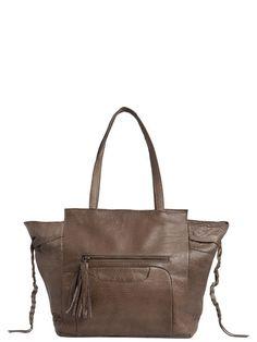 TASSELLED LEATHER BAG, Nougat