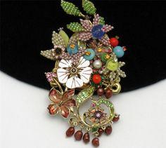 STANLEY HAGLER Beaded Floral Enamel Brooch