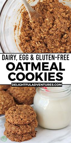 Easy vegan gluten-free vegan oatmeal cookies you can have ready in under 30-minutes! They're soft, chewy, delicious and very simple to make. These vegan snacks are the best because they call for only a few ingredients and are dairy-free (no butter), egg-free, and, of course, gf. Easy Vegan Cookies, Vegan Oatmeal Cookies, Vegan Gluten Free Cookies, Gluten Free Oatmeal, Vegan Chocolate Chip Cookies, Gluten Free Recipes For Breakfast, Vegan Treats, Vegan Recipes Easy, Vegan Food