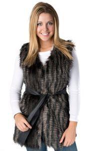 e3150b1893770 Cripple Creak Women s Ivory Crochet Knit with Laced Rabbit Trim Vest