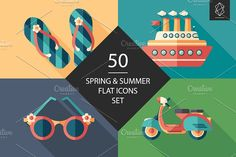 50 Spring and summer flat icons set by Yury Velikanov on @creativemarket