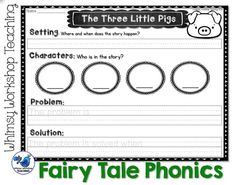 Using Fairy Tales to teach setting, character, problem and solution to emergent readers. {from Fairy Tale Phonics - Whimsy Workshop Teaching $}