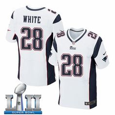 55ed83f57 Nike Patriots 28 James White White 2018 Super Bowl LII Elite Jersey Nfl New  England Patriots