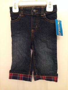 NWT Greendog Macys denim jean baby pant with plaid cuff 12m #Dress