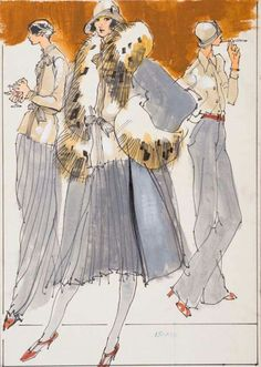 Three female models in gray pants or skirts with taupe coats and shirts Kenneth Paul Block (American, July 1974 Fashion Illustration Poses, Illustration Mode, Fashion Illustrations, Fashion News, Fashion Art, Fashion Design, Vintage Fashion Sketches, Fashion Sketchbook, Portfolio
