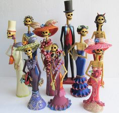 9 CATRINA SET mexican folk art day of the dead figure catrinas wholesale lot