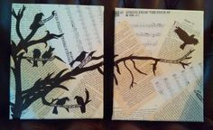 My own art. Collage of book pages with tree and crows done with sharpie markers. Lyrics from one of my favorite songs are written in some of the branches - A Murder of One by Counting Crows. Also incorporated my favorite number, 23, through all the page numbers :)