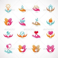 16 vector signs of love and care - Home Health Logo Design