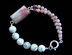 Rhodochrosite Ruby Rhodonite Pastel Bracelet by pinkowljewelry