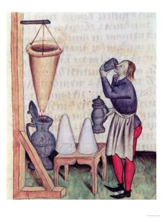 Preparation of hypocras (mid 15th century). Note the sugarloafs and the manicum hippocraticum (Hippocratic Sleeve) - a cloth device for filtering the spiced wine, based on Hippokrates writings on water filtering devices; Tractatus de herbis, c142r Modena bib estense, ms.alfa L.2.98, Lat.993