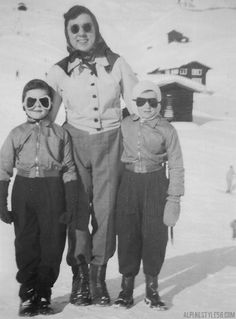 mother children ski skiing arosa switzerland 1952 vintage photo