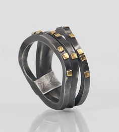 Oxidized+Wave+Ring by Lori+Gottlieb: Gold+&+Silver+Ring available at www.artfulhome.com