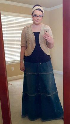 Denim skirt with an adorable cardigan and headband! Stylish denim outfit. Feminine Fringe. Style J. Themodestmomblog
