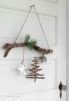 rustic twig Christmas tree ornament on a branch (Funky Junk Interiors) - Christmas Decorations & Holiday Decor Twig Christmas Tree, Natural Christmas, Rustic Christmas, Winter Christmas, All Things Christmas, Christmas Holidays, Christmas Wreaths, Christmas Ornaments, Twig Tree