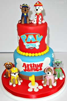 Paw patrol themed cake. www.cakeseven.wix... Facebook- Cake7. Twitter- Cake7 email: cake.seven@aol.co.uk phone: 07731 882 988