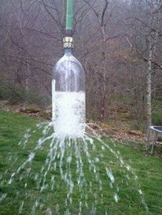 Take a 2 liter soda bottle, poke holes in it. Attach to a garden hose. Toss over a tree branch and let hang for a kids water sprinkler. GENIUS!!!