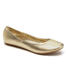 Kenneth Cole Reaction Light Gold Slip Gloss III Leather Flat #zulily #zulilyfinds