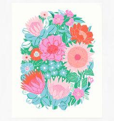 Poetic Blooms screen printed art poster by Cabin Journal Floral Illustrations, Illustration Art, Sketchbook Inspiration, Design Inspiration, Floral Artwork, Fantastic Art, Print Artist, Surface Pattern Design, Making Ideas