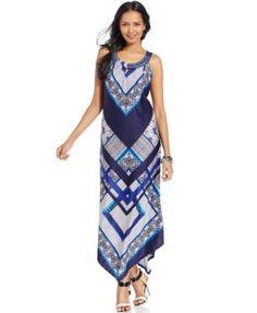 NY Collection Printed Maxi Dress | macys.com