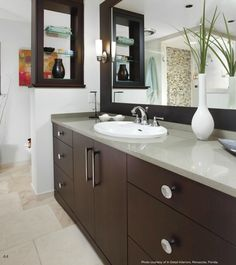 Polished Chrome Cabinet Knobs and Pulls in a Contemporary Bathroom