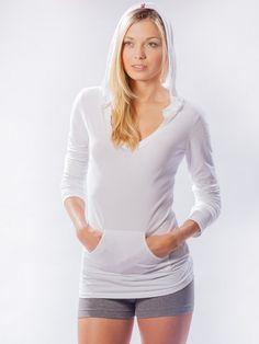 <ul> <li>Semi-fitted</li> <li>Kangaroo front pocket</li> <li>Flattering v-neck with band around neck and hoodie</li> <li>Sanded premium supima cotton and lycra</li> </ul>