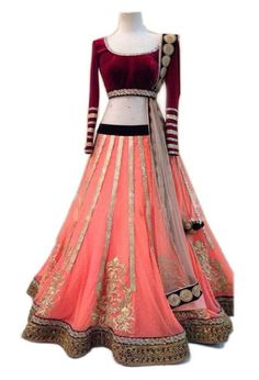 This is a beautiful velvet and net lehenga choli and this fabric is so nice. It is a good product and lehenga fabric is net, blouse cloth is velvet and dupatta cloth is net and it has beautiful lace. This lehenga has a beautiful embroidery work and it gives an awesome look for every women. This orange and maroon color lehenga choli is perfectly suit for any occasion.