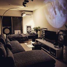 Studio Apartment Living, Tiny Studio Apartments, Studio Apartment Layout, Small Apartment Design, Studio Apartment Decorating, Apartment Interior, Men's Apartment Decor, Guy Apartment, Bedroom Setup