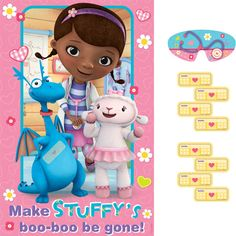 Cure the boo boos on Stuffy with the Doc McStuffins Birthday Game! An adorable spin on the classic pin the tail game, this version features a plastic game poster that features the aspiring doctor Dottie McStuffins with her sidekick nurse, Lambie and dinosaur pal Stuffy all on a pink background accented with flowers and hearts. The poster reads: Make Stuffy�s boo-boo be gone!  The game poster measures 37.5 inches x 24.5 inches and comes with a paper blindfold and 8 Band-Aid style stickers ...