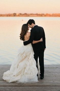 artistic wedding photography outdoor wedding bride groom on dock Down, and Fashion, Dresses, and Groom, on the Water Wedding Pictures Beach, Wedding Pics, Wedding Couples, Wedding Bride, Dream Wedding, Wedding Beach, Trendy Wedding, Wedding Venues, Beach Pictures