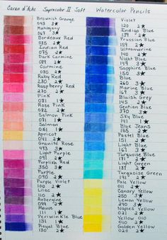 Caran d'Ache Watercolor Pencil Charts - Library - WetCanvas