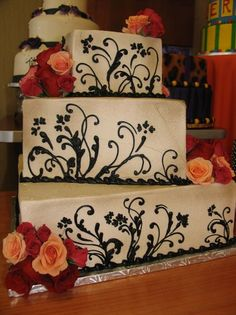 Shabby Chic Vintage Black Ivory Orange Red Square Wedding Cakes Photos & Pictures - WeddingWire.com
