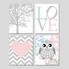 Baby Girl Nursery Art - Love, Birds in a Tree, Floral Owl, Dream Big Little One Chevron Heart - Set Four 11x14 Prints - CHOOSE YOUR COLORS
