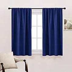 PONY DANCE Bedroom Blackout Draperies Blue Curtains - Rod Pocket Top Blackout Curtain Panels/Window Treatments Home Decoration for Kids' Room by, Navy Blue, W 42 x L 45 inches, 2 Panels