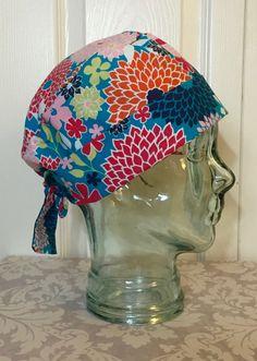Custom Caps Company Orange, Pink & Navy Dahlia Scrub Hat, Beautiful Bright Women's Flower Surgical Scrub Cap, Pixie Tie Back Scrub Cap by CustomCapsCompany on Etsy